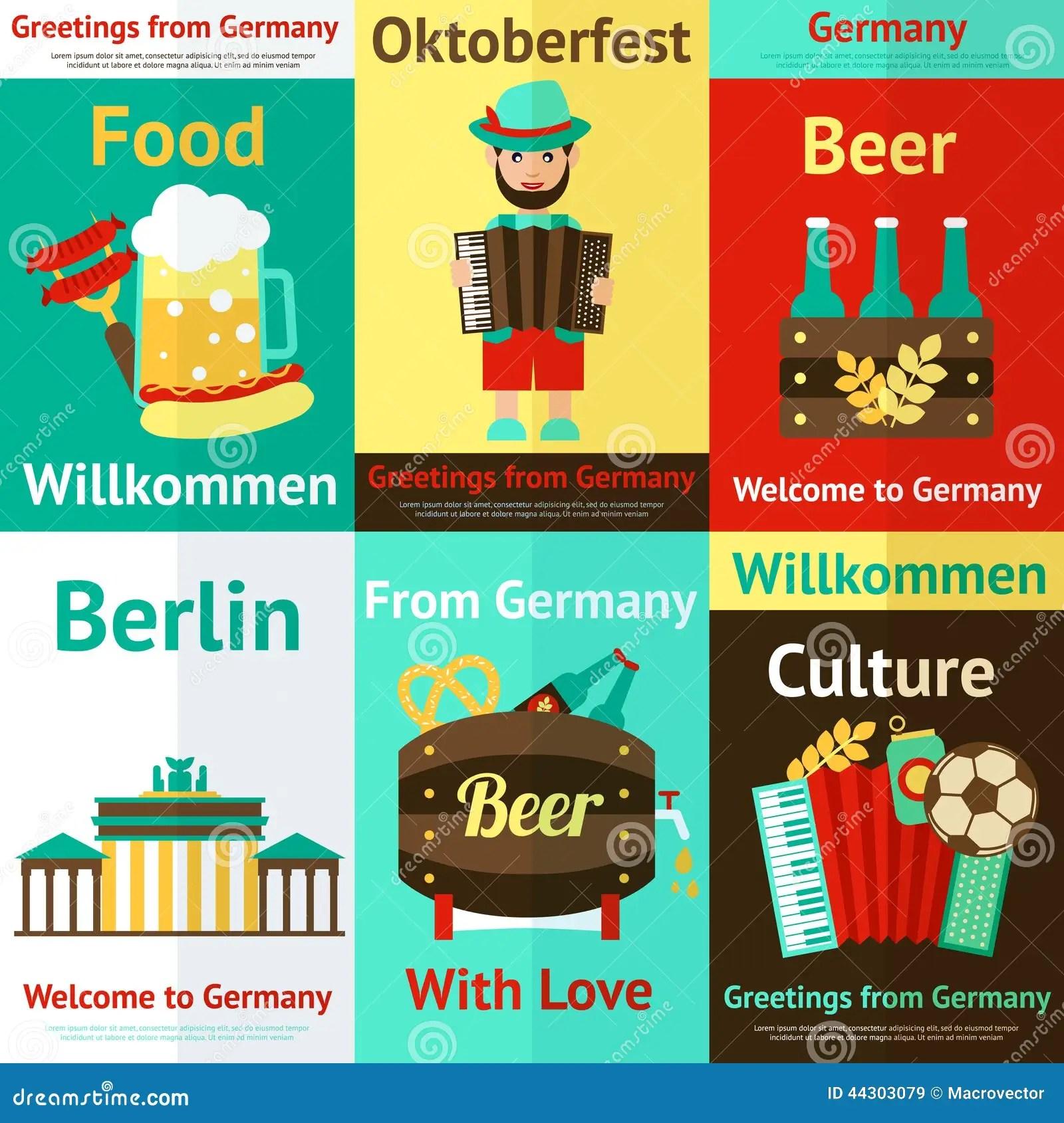 Germany Travel Retro Poster Set Stock Vector