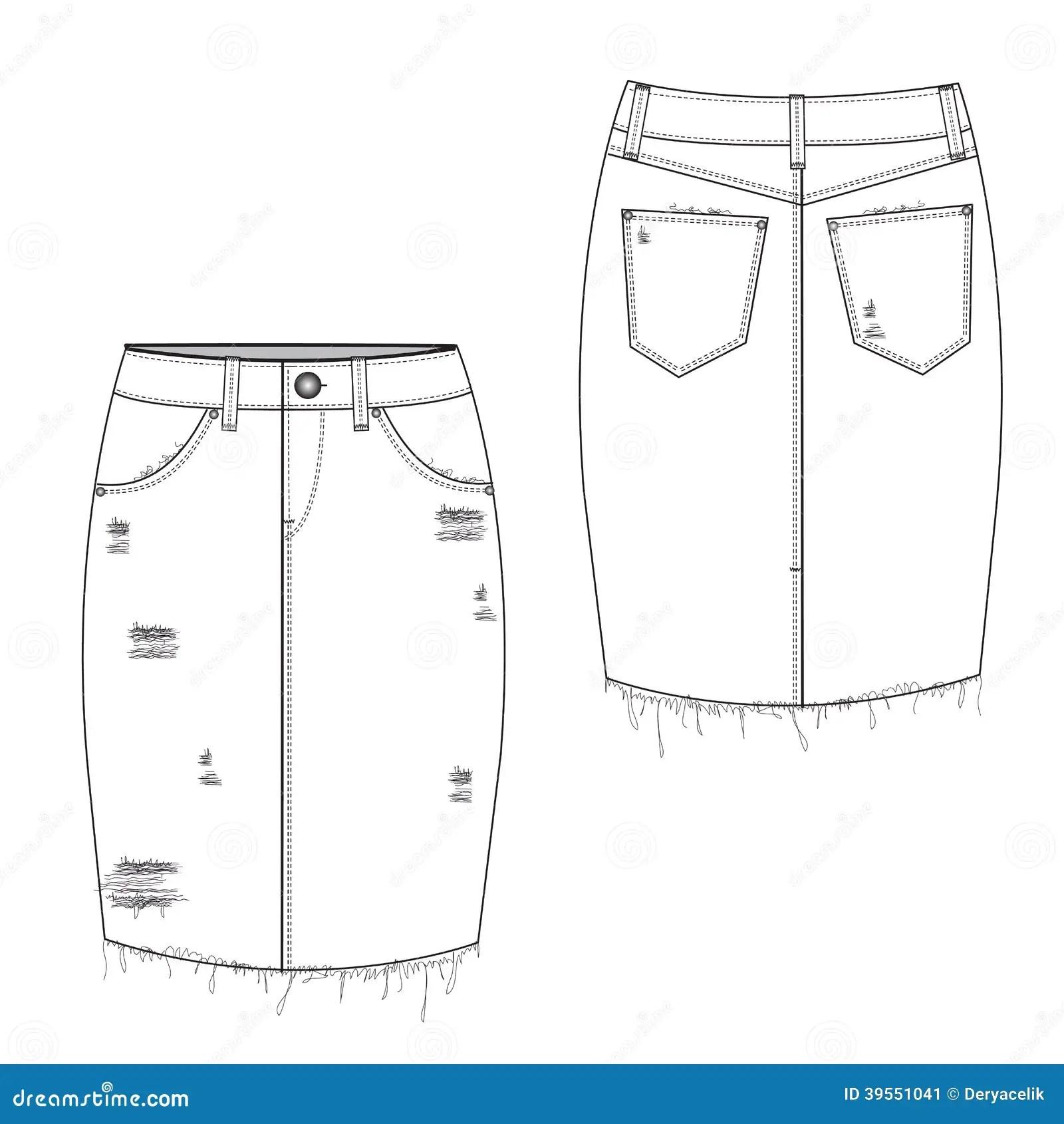 Gescheurde Midi Jean Skirt Vector Illustratie Illustratie