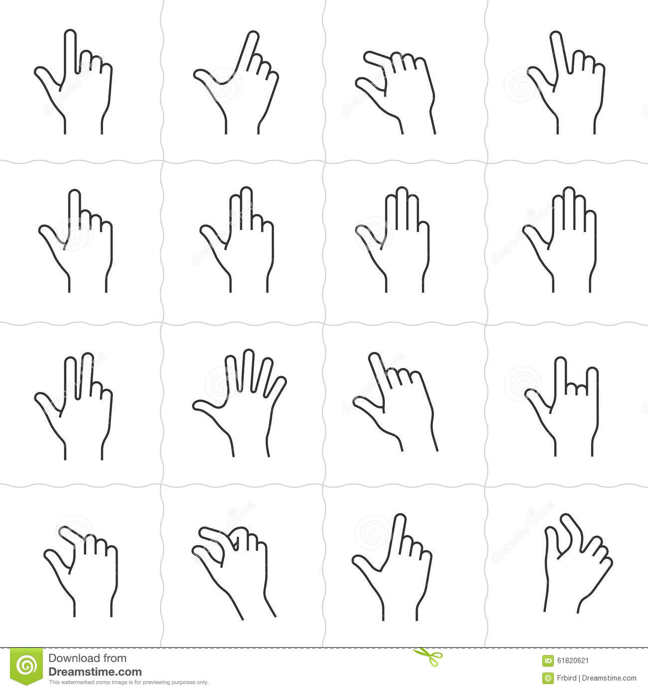 Gesture icon set stock vector. Image of element, pressing