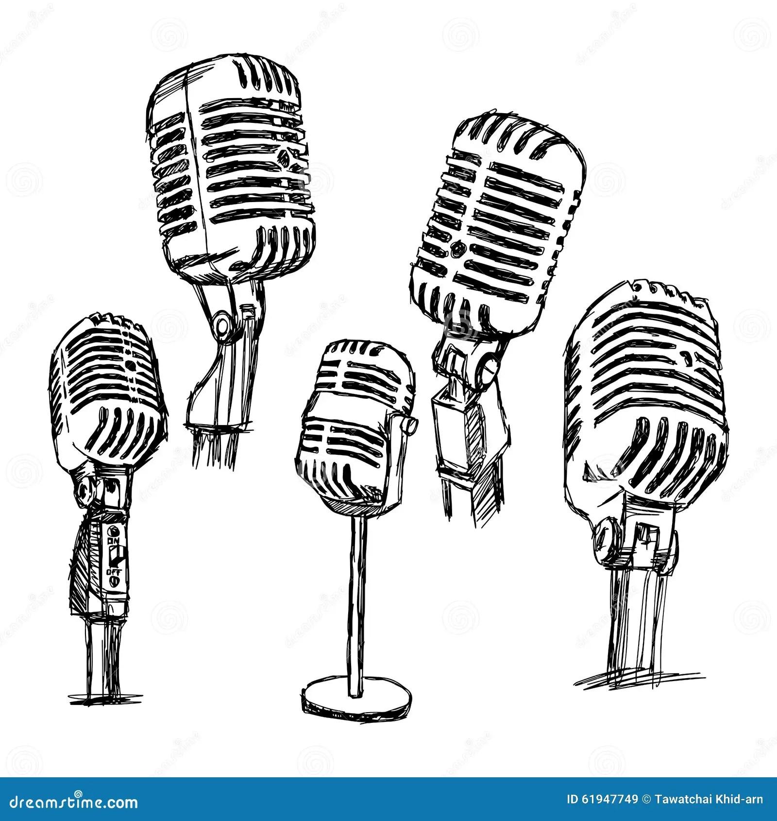 Gezeichneter Retro- Mikrofonsatz Des