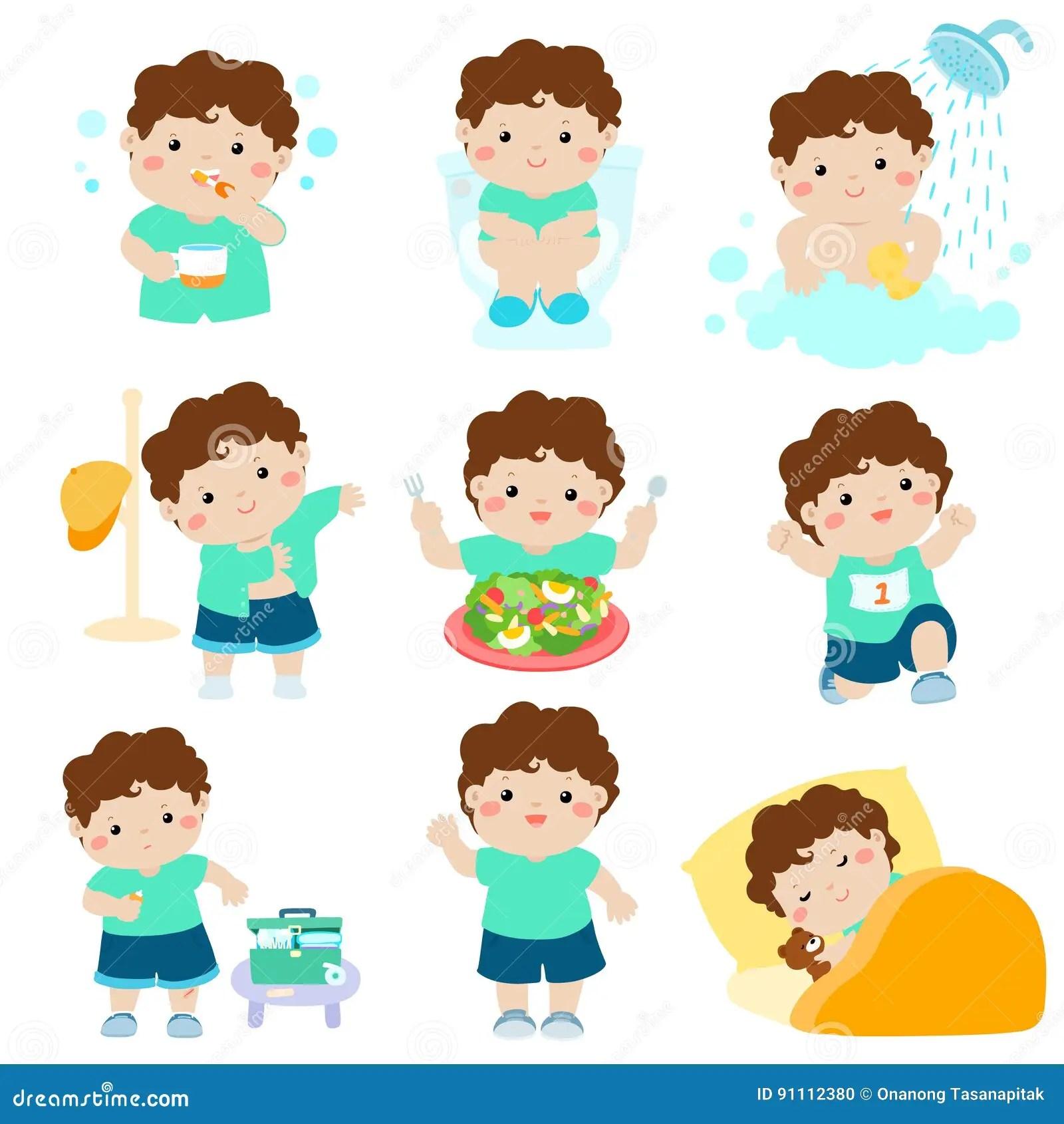 Gezonde Hygiene Voor Jongensbeeldverhaal Vector