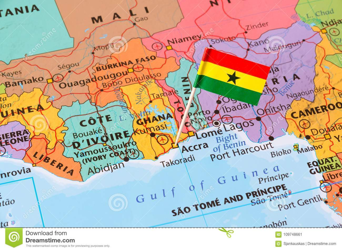 Ghana Map And A Flag Pin Stock Image Image Of Explore 109748661