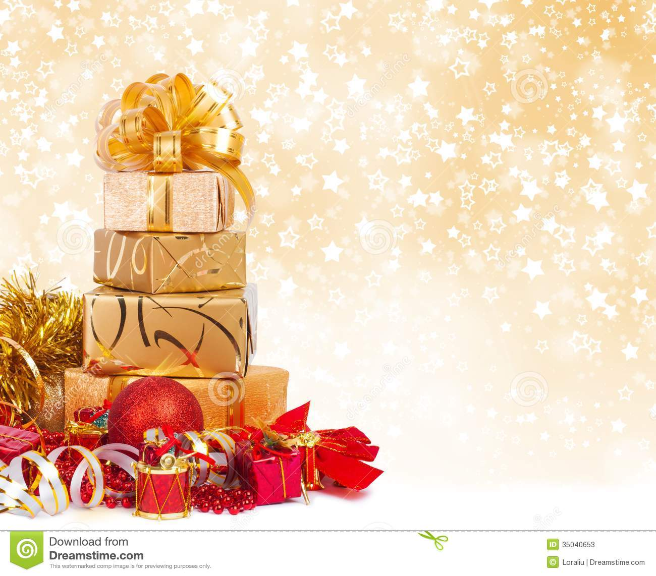 Gift Box In Gold Wrapping Paper Stock Photos Image 35040653