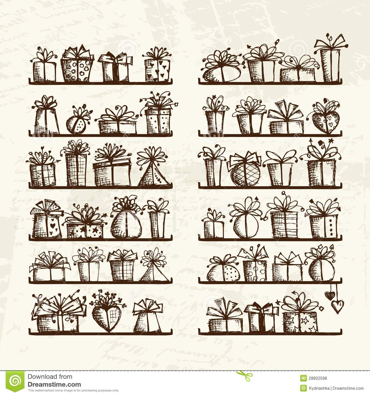 Gift Boxes On Shelves Sketch Drawing For Your Royalty