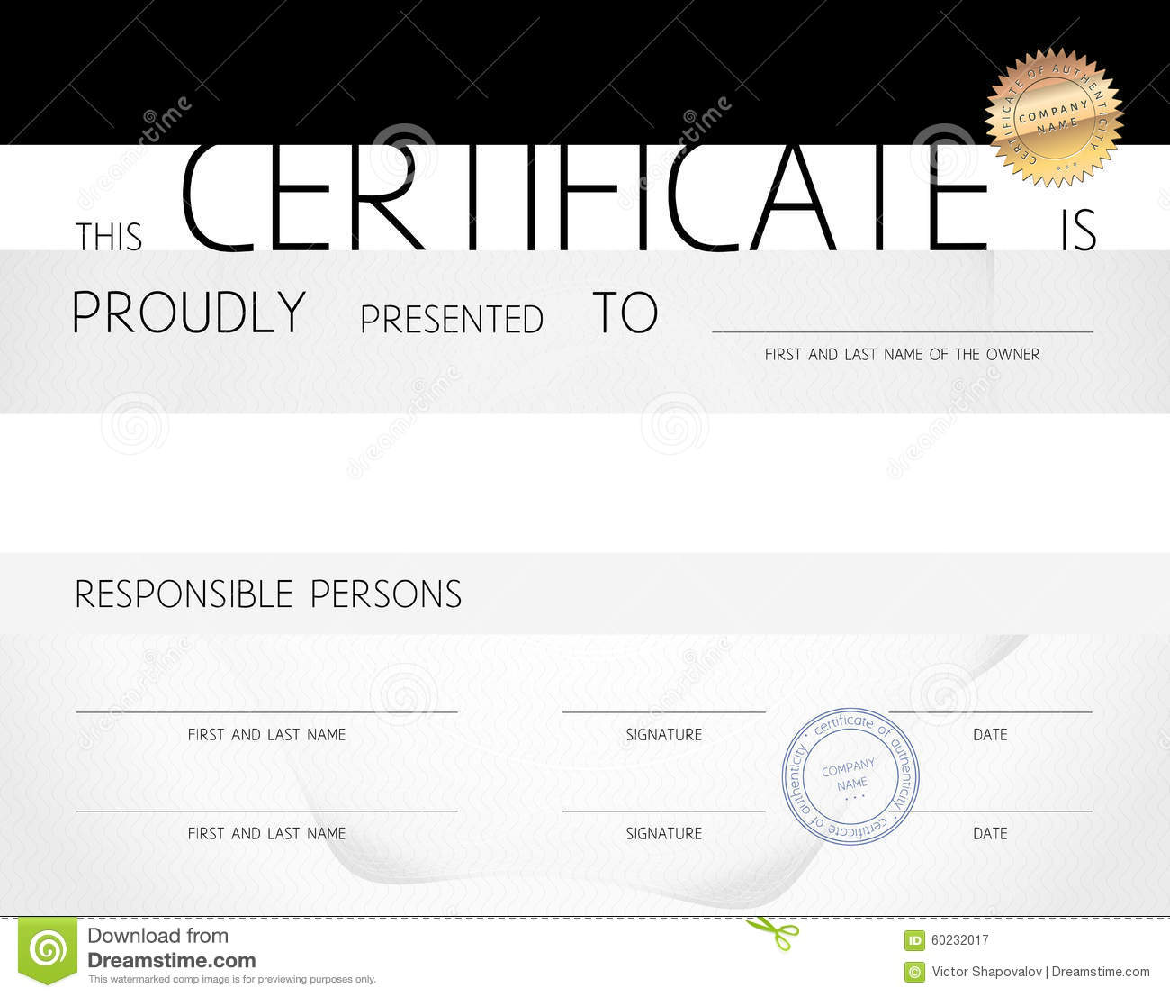 Gift Certificate / Diploma / Award Template Of Course