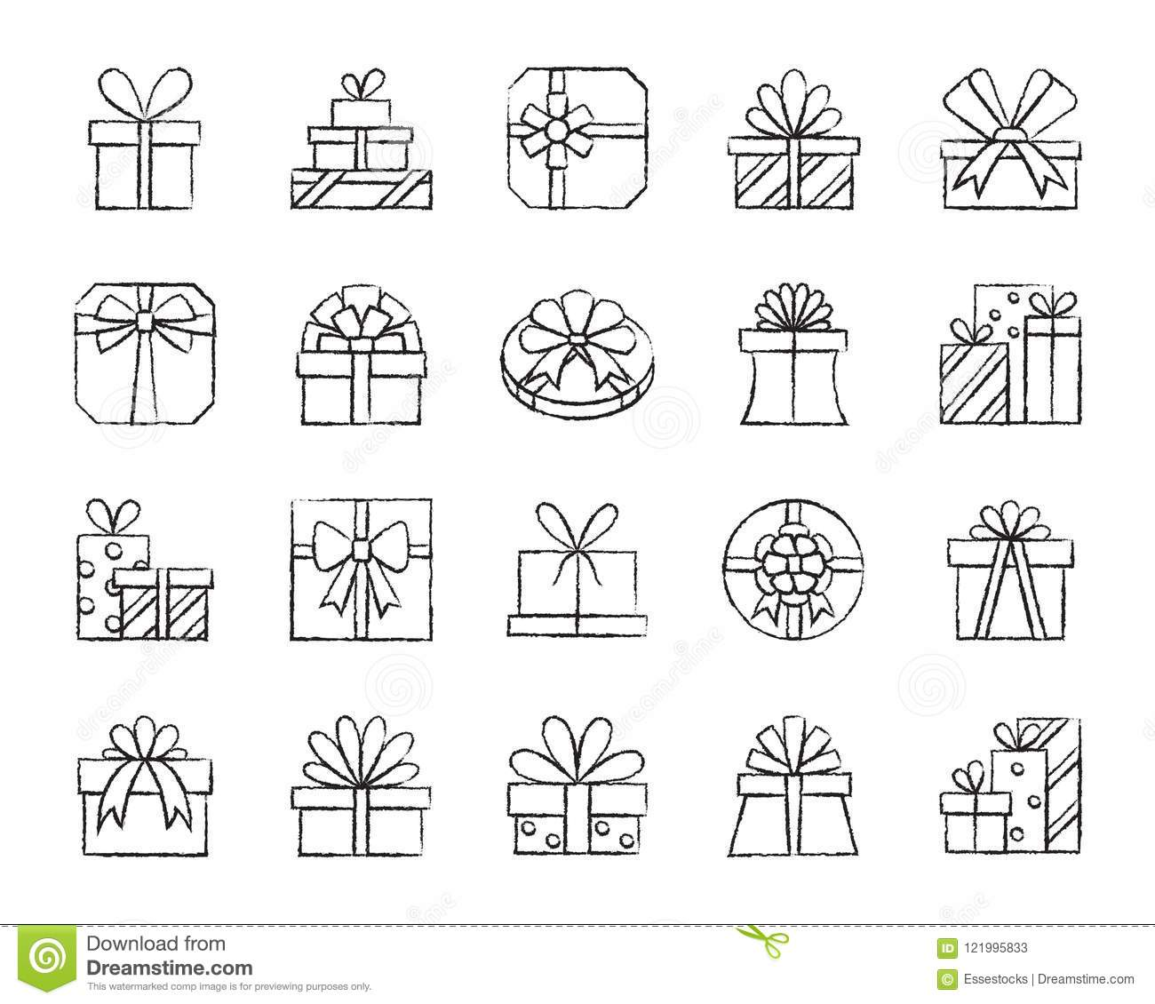 Gift Charcoal Draw Line Icons Vector Set Stock Vector