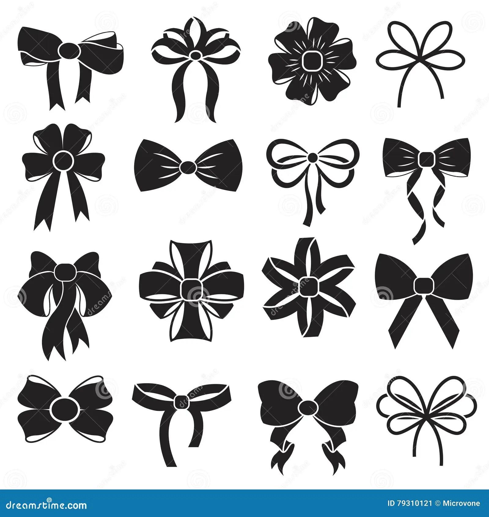 T Decorative Ribbon Bow Vector Icons Set Stock Vector