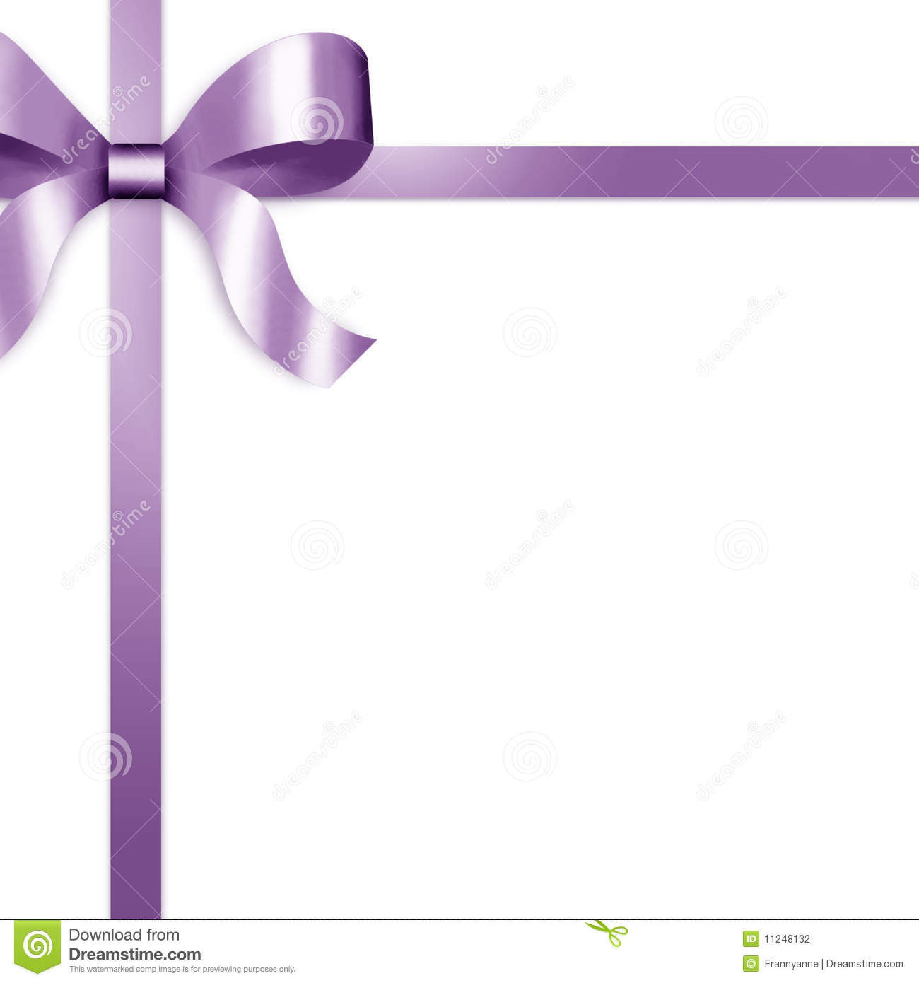 Gift Ribbon With Purple Satin Bow Stock Photography