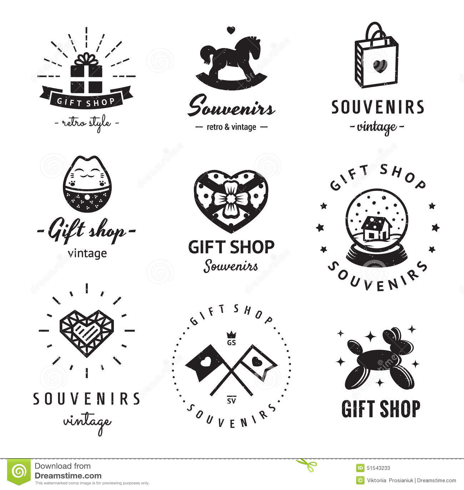 T Shop And Souvenirs Logo Vintage Vector Set Hipster
