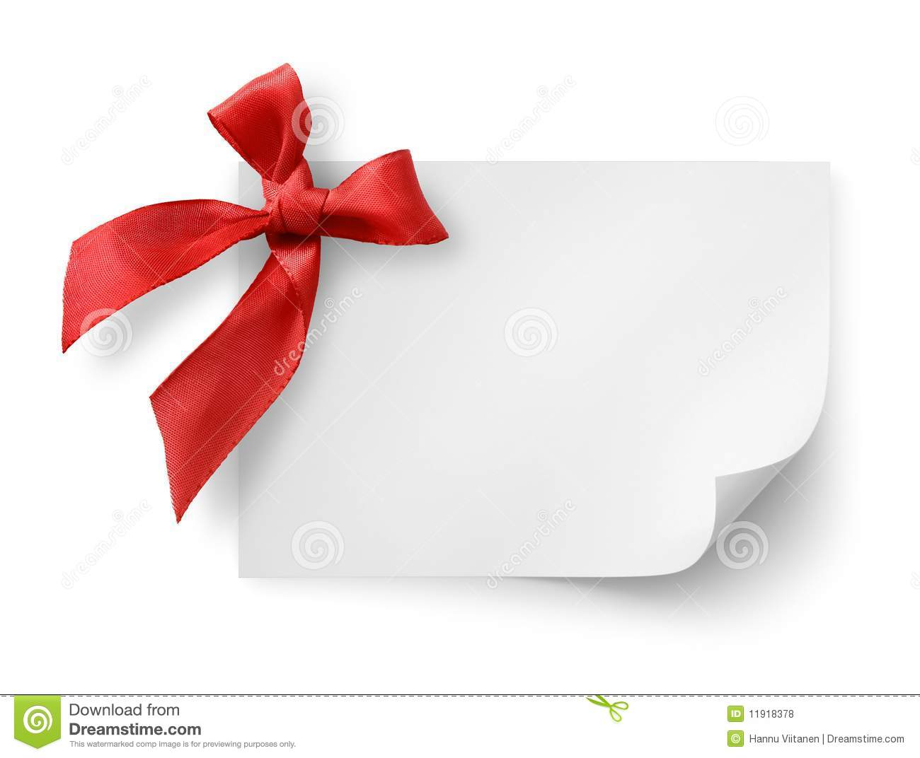 Gift Tag With Red Silk Bow Stock Photo Image Of Knot