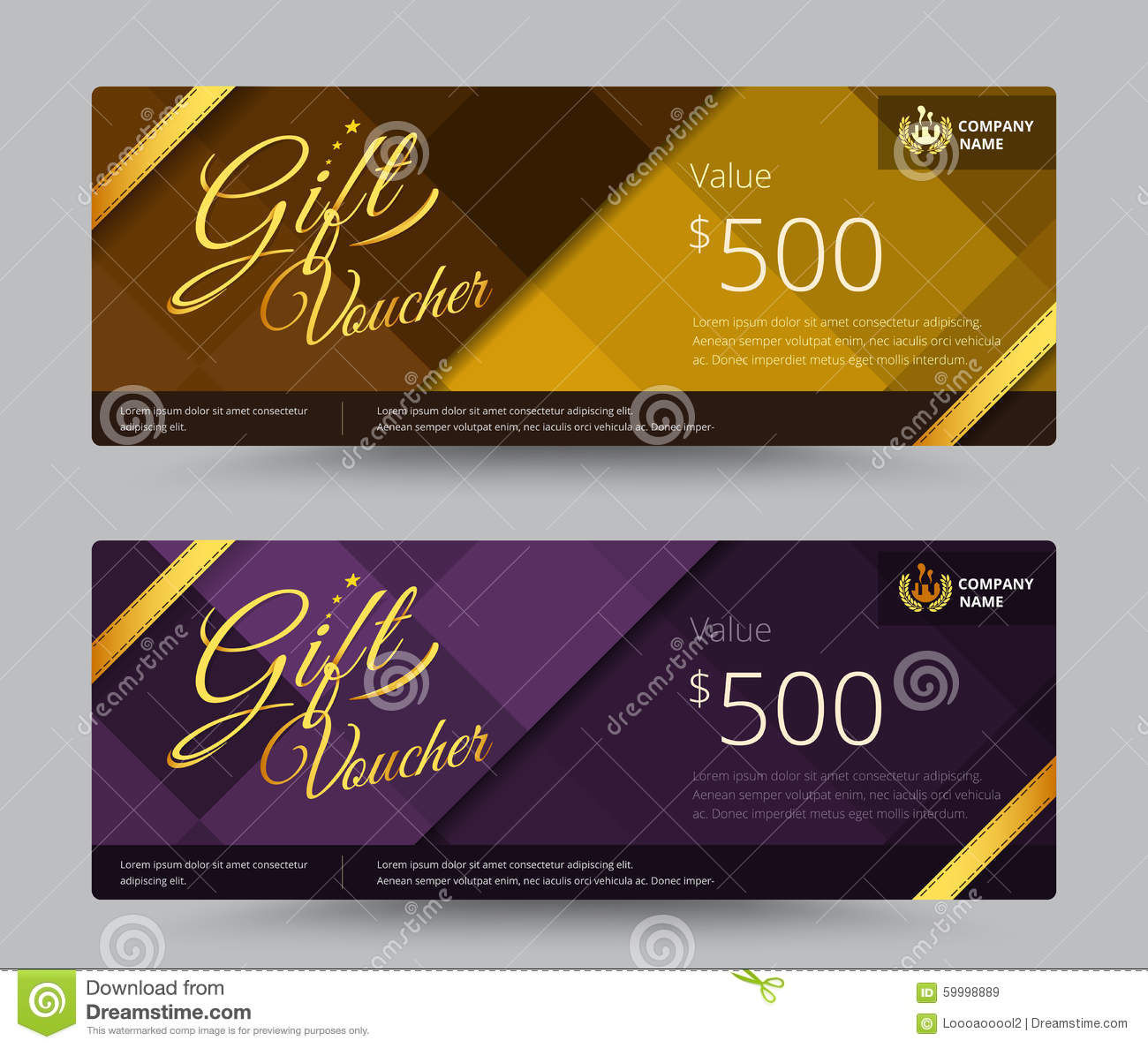 Gift Voucher And Coupon Gold Or Purple Color Set Include