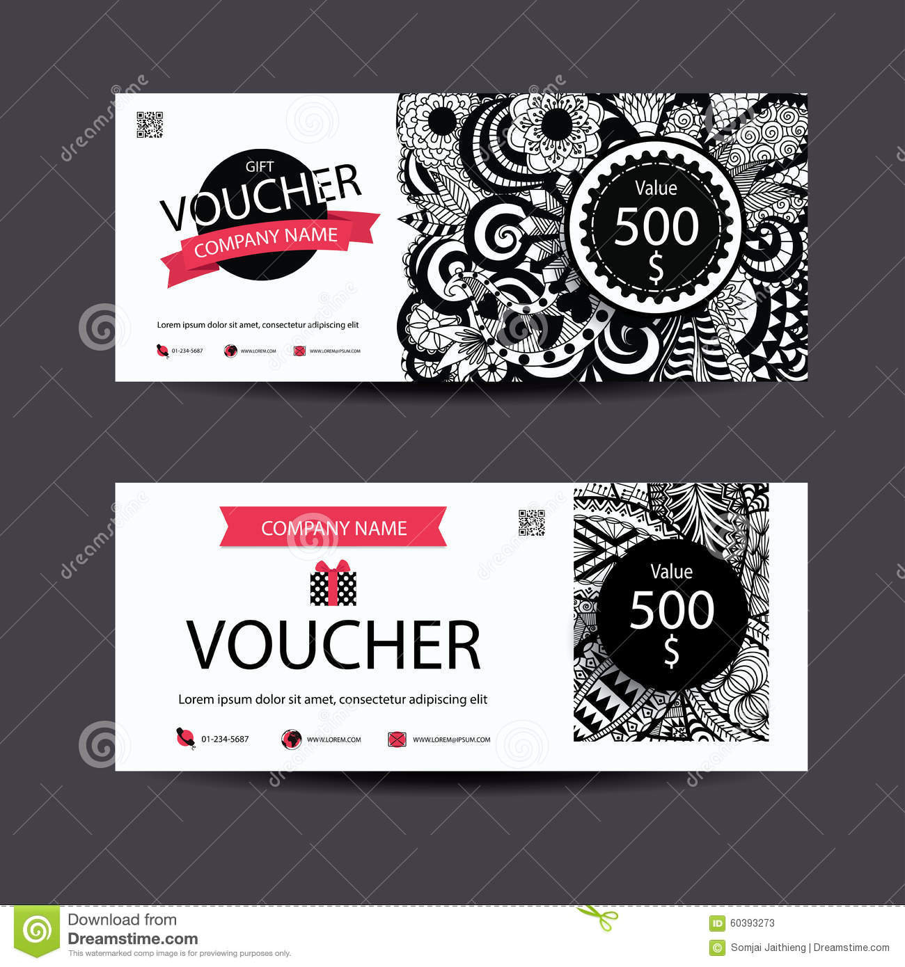 Gift Voucher Template Zentangle Style For Spa Beauty