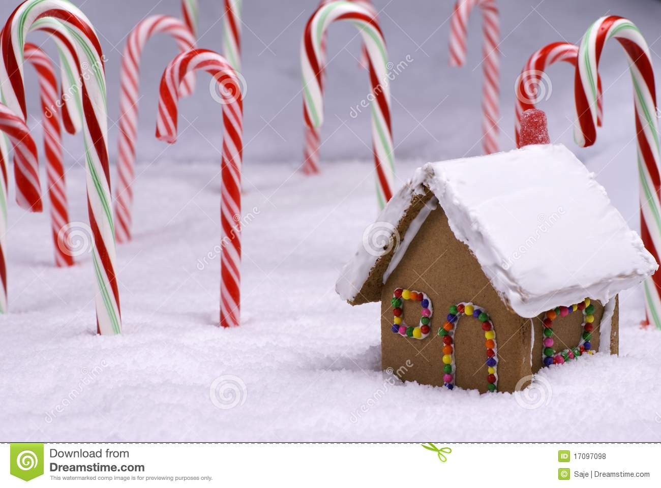 Ginger Bread Cottage In Candy Cane Forest Royalty Free