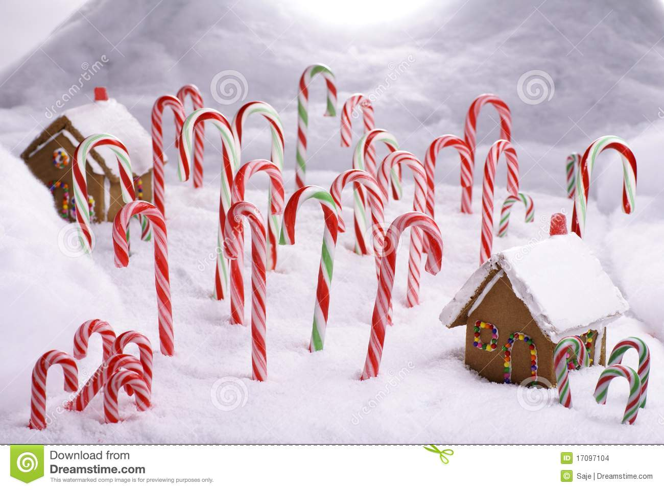 Ginger Bread Cottages In Candy Cane Forest Stock Images