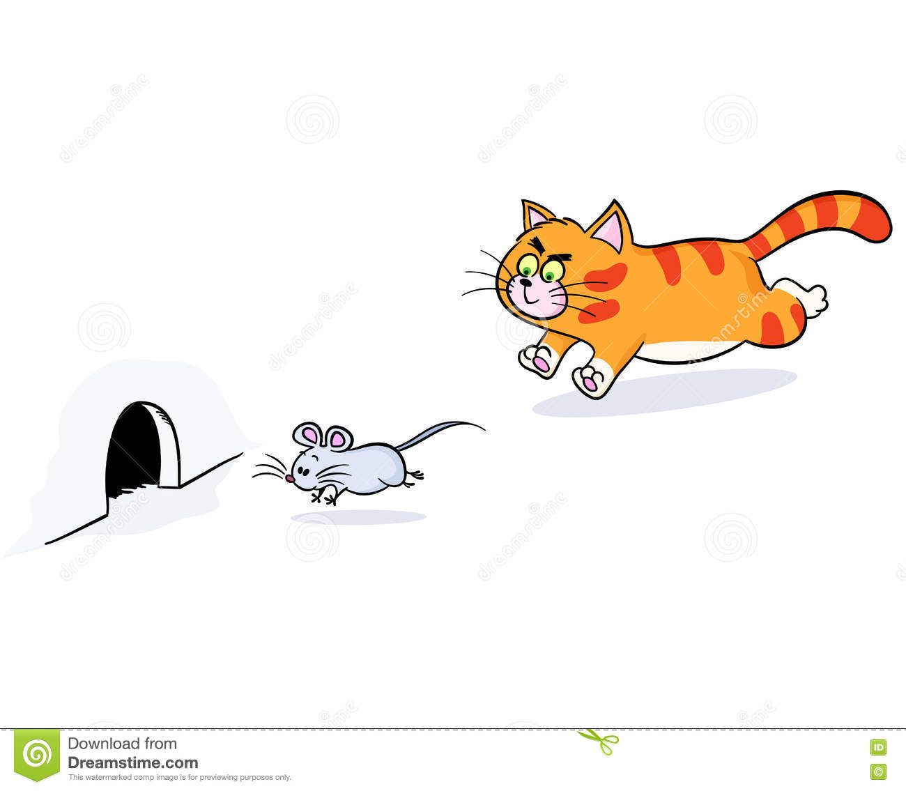 Ginger Cat Chasing A Mouse Stock Vector Illustration Of