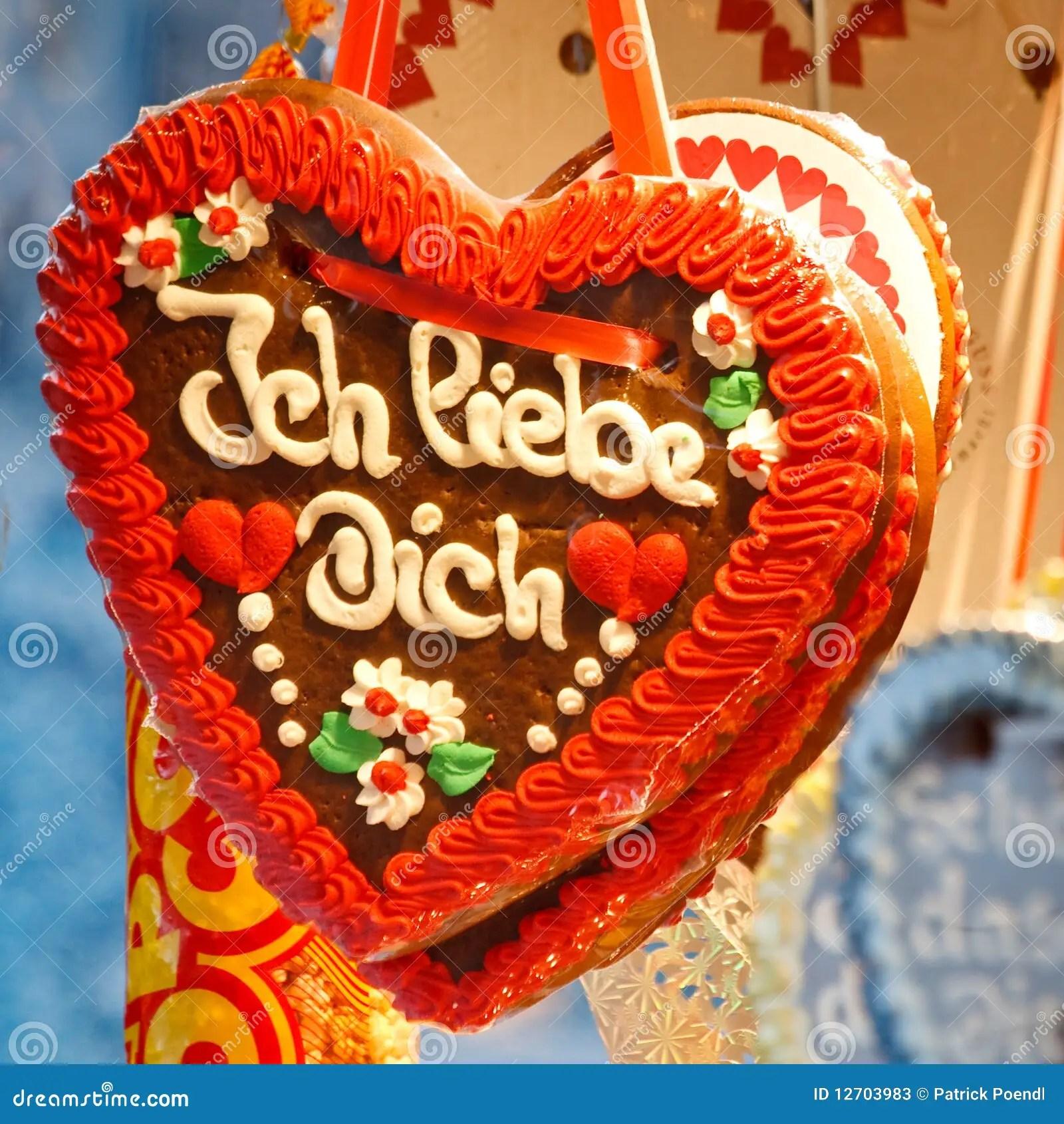 Gingerbread Heart Lebkuchenherz I Love You Stock