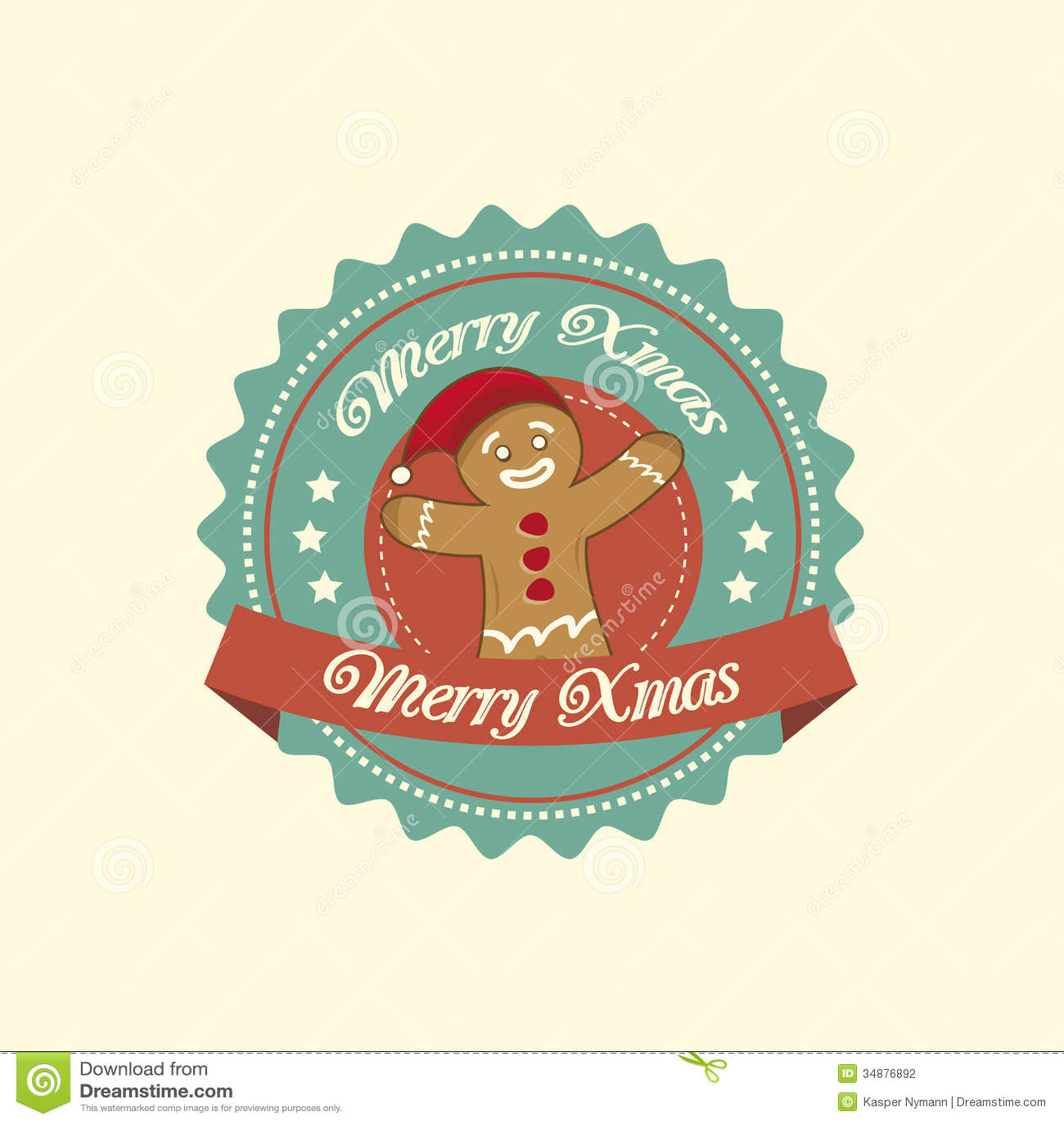 Gingerbread Man Christmas Label Stock Vector