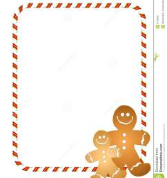 an illustration featuring a couple of gingerbread men with candy cane border or frame [ 1112 x 1300 Pixel ]