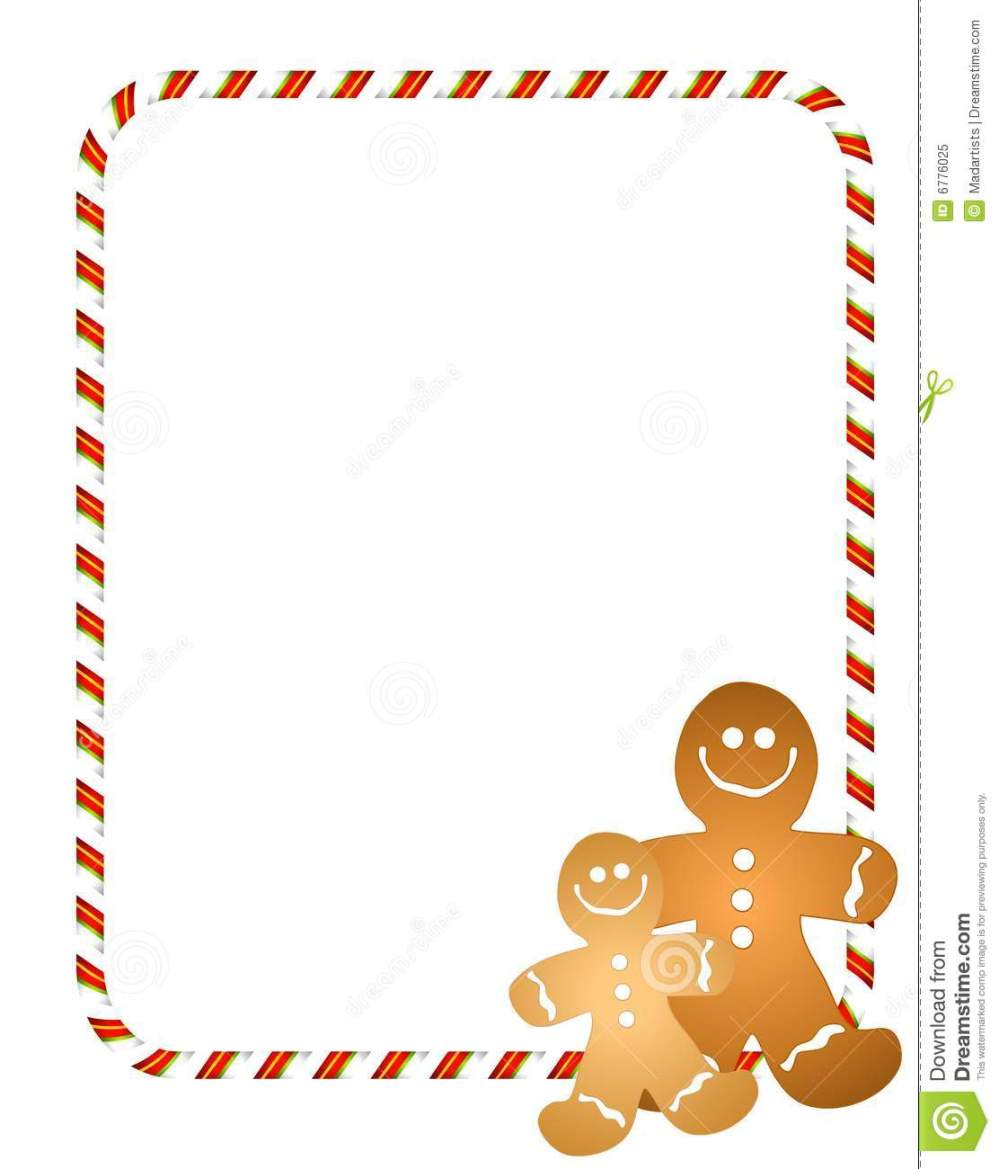 medium resolution of an illustration featuring a couple of gingerbread men with candy cane border or frame