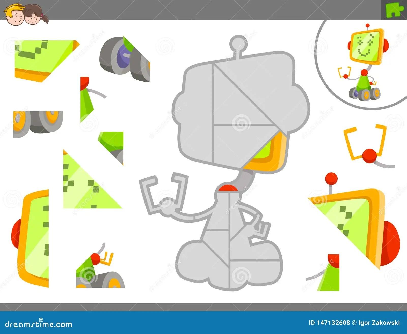 Gioco Del Puzzle Con Il Robot O Il Droid Illustrazione