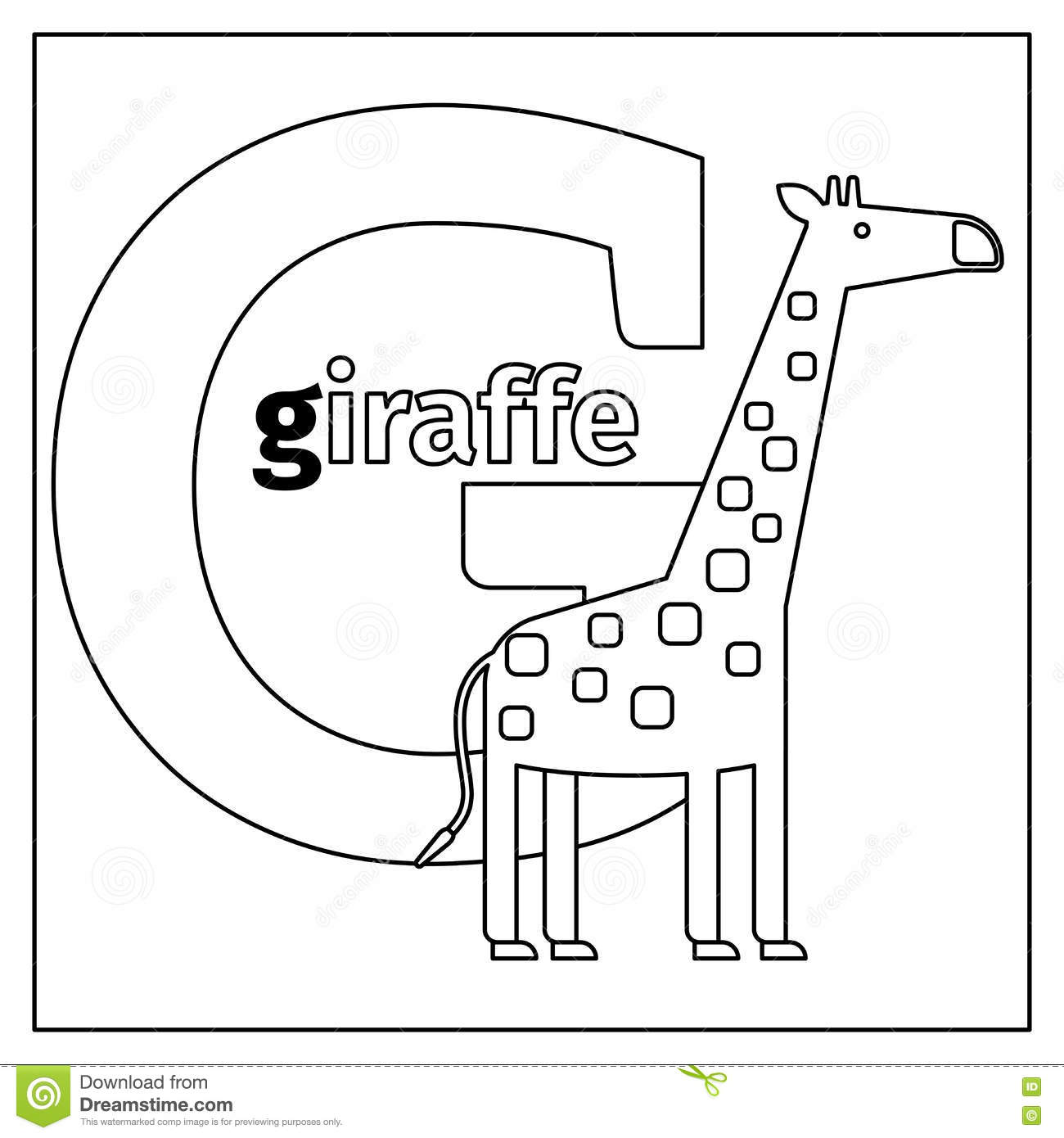 Giraffe Letter G Coloring Page Stock Vector