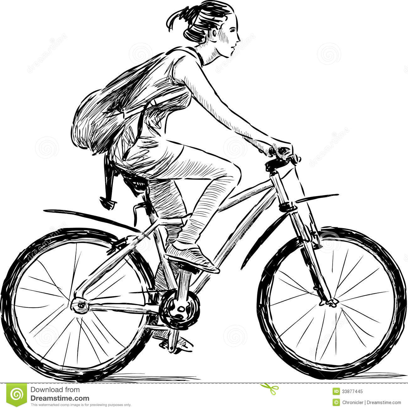 Girl On The Bicycle Stock Image Image Of Drawn Side