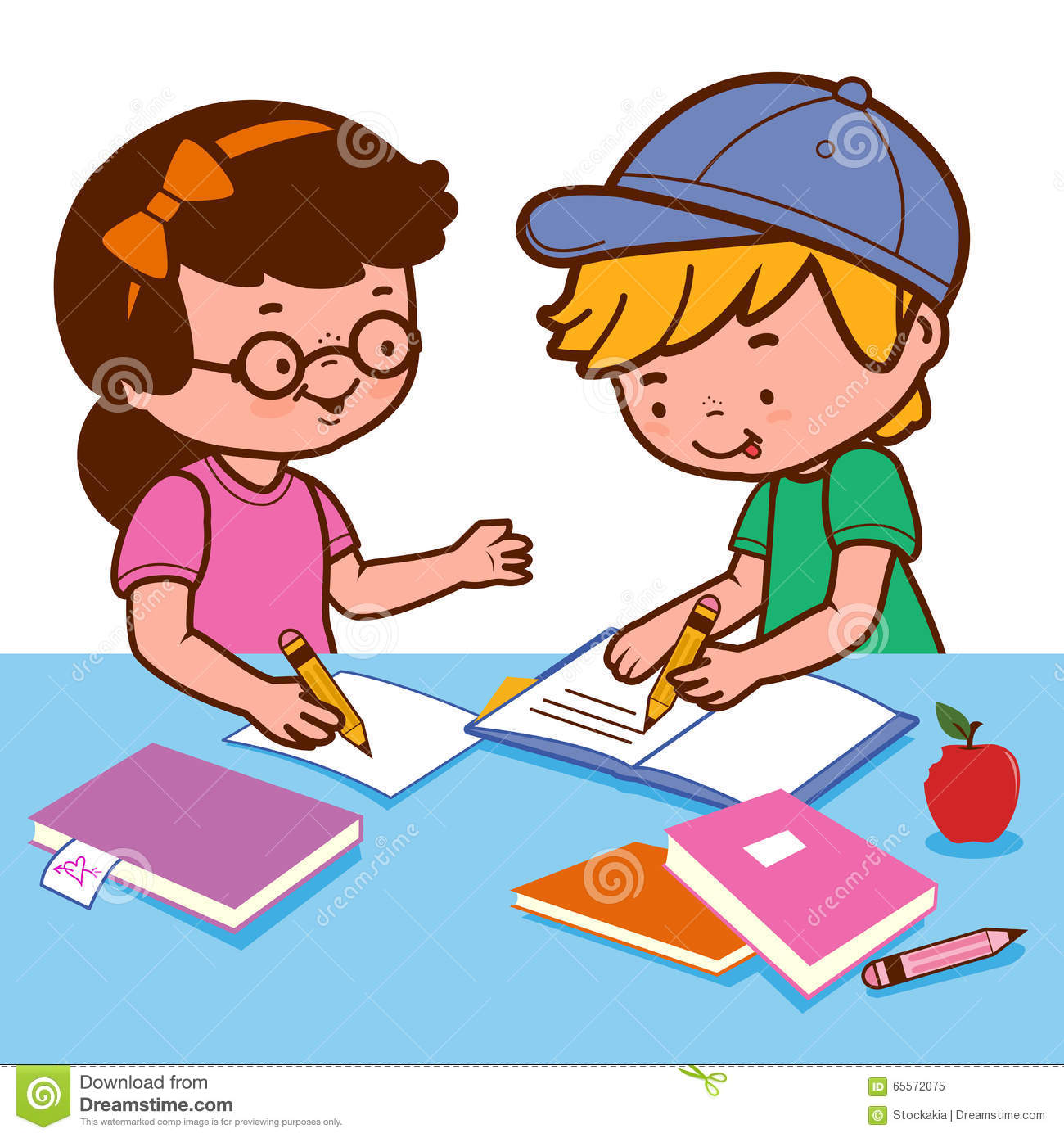 Girl And Boy Doing Homework Stock Vector