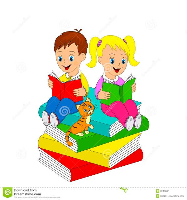Girl And Boy Read Book Stock Vector. Illustration Of