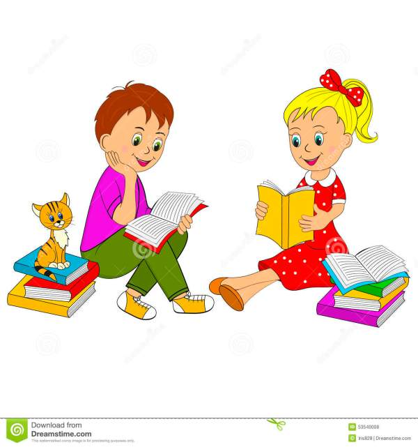 Cartoon Boy and Girl Reading Book Image