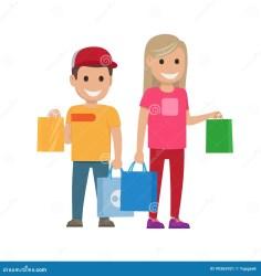 boy shopping bags cartoon vector