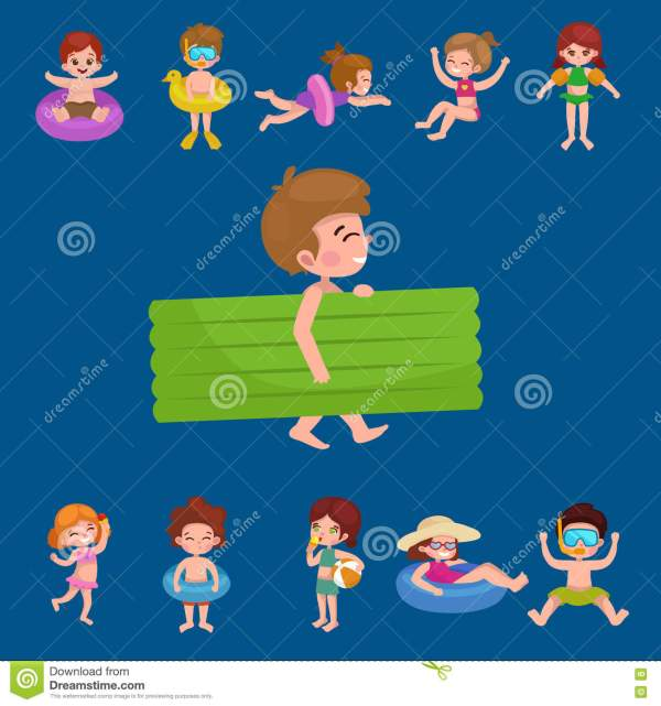 Girl And Boy In Swimsuit Isolated Kids Summer Vacation
