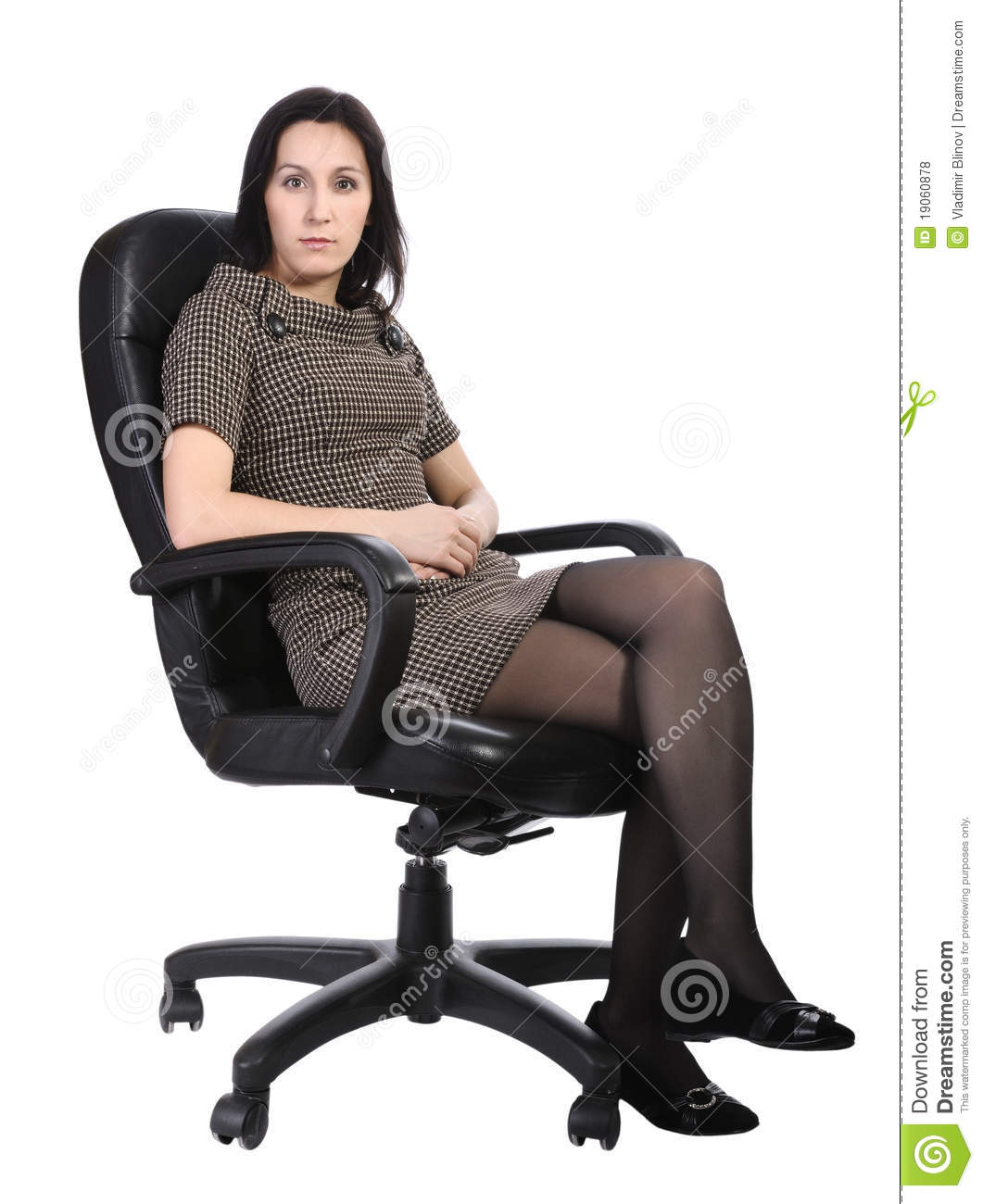 Girls Office Chair Girl In Brown Dress In An Office Chair Isolated Royalty