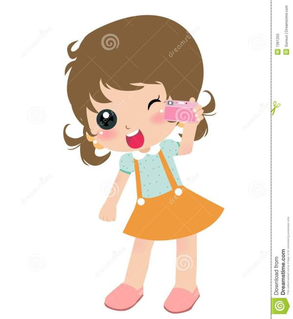 Girl With Camera Stock Vector. Illustration Of Friends