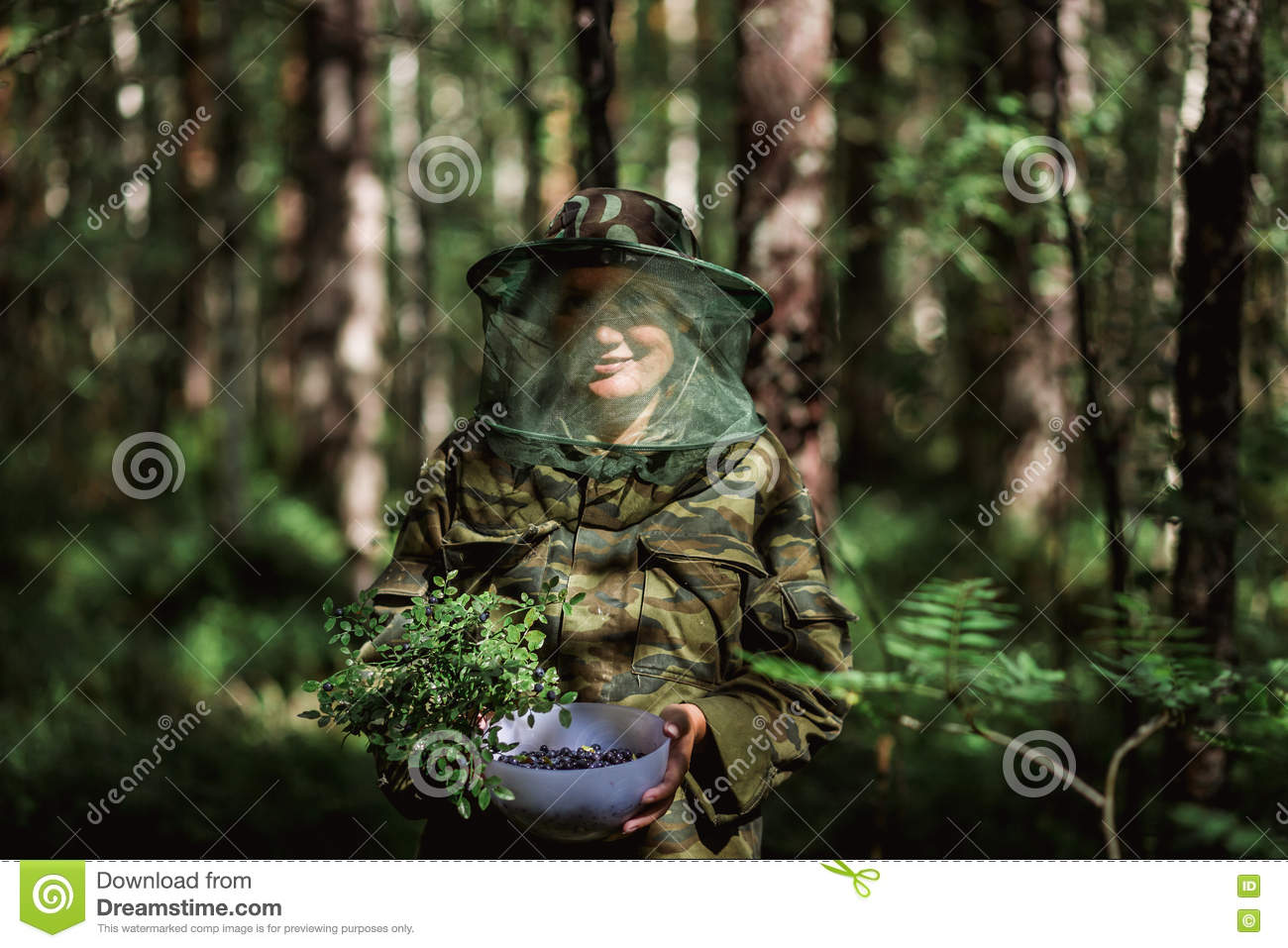 girl in camouflage clothing