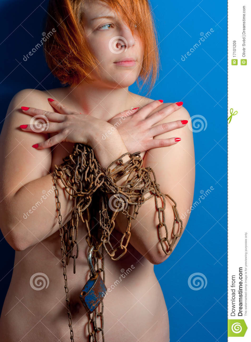 Girl With Chains And Padlock Stock Image Image Of Lean