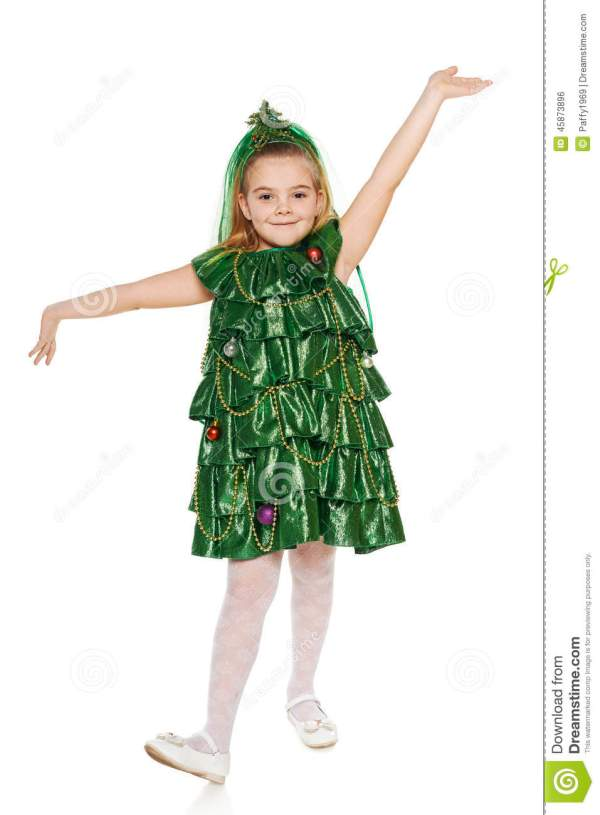 Girl In Christmas Tree Costume Stock - Of