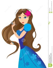 girl combing hair stock vector