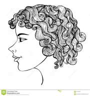 girl with curly hair ink drawing