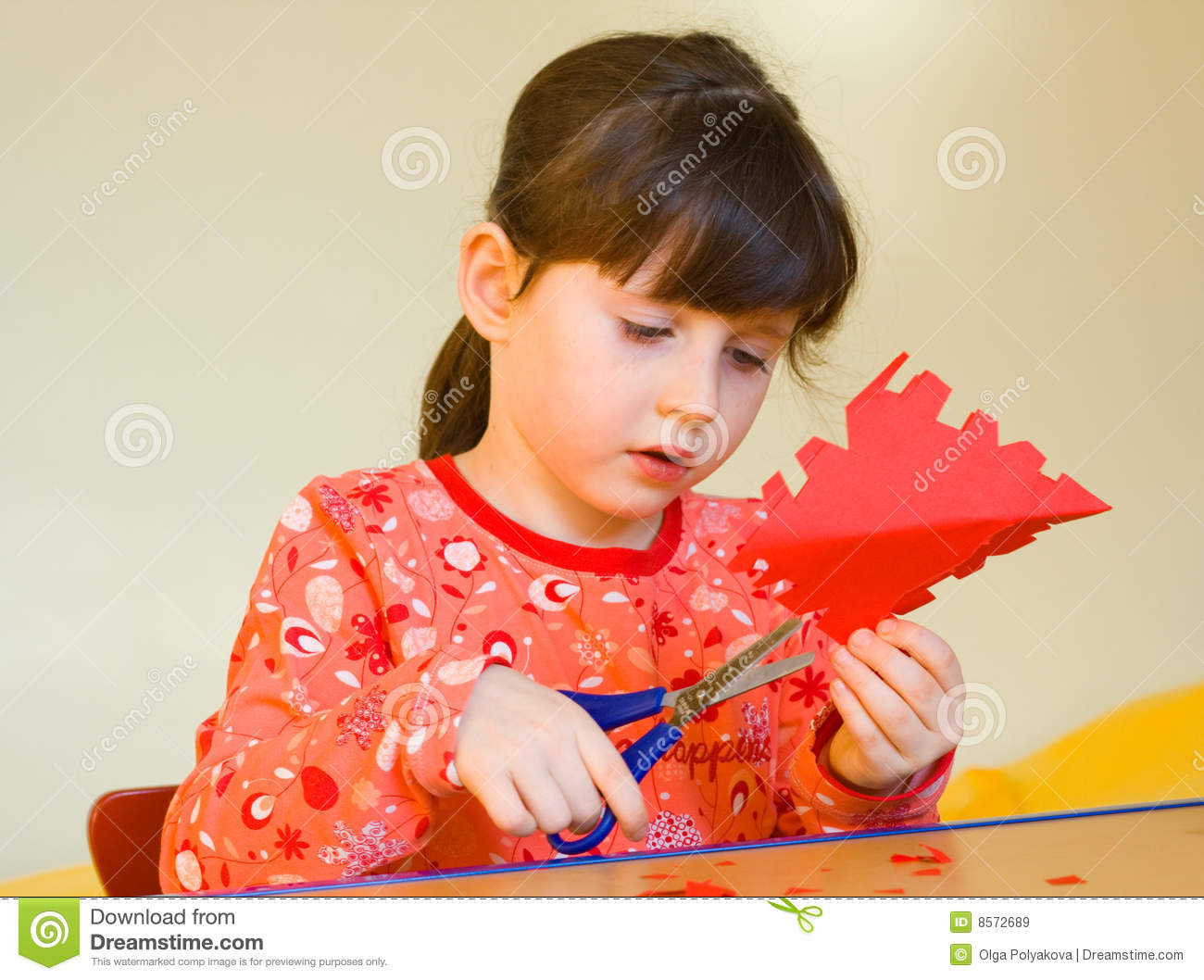 Girl Cutting Paper Stock Image Image Of Children Learn