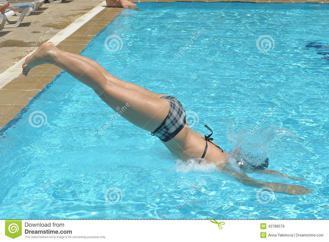 Girl Diving Into Pool Stock Photo  Image 42788579
