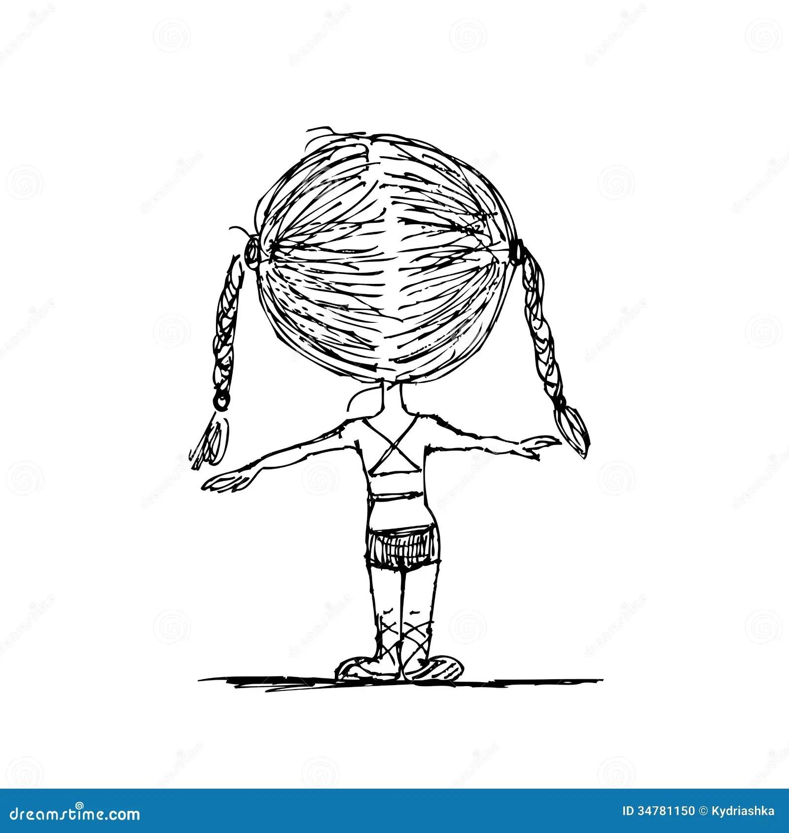 Girl Doing Gymnastics Sketch For Your Design Stock Photo