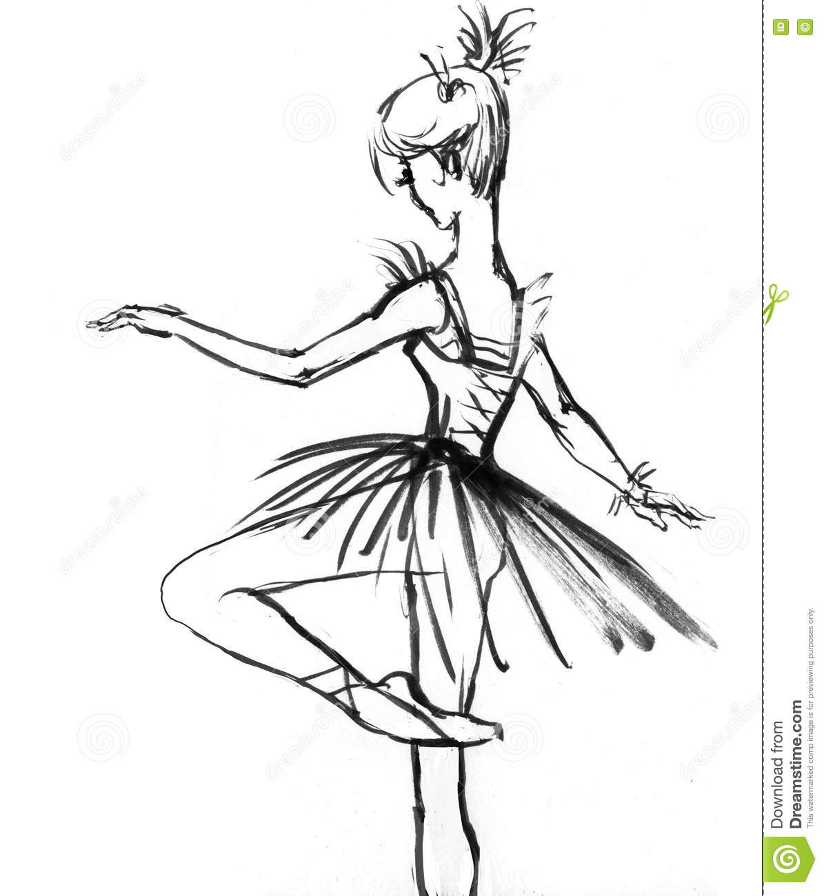 Girl In A Dress Drawing In Black And White Ballerina Stock