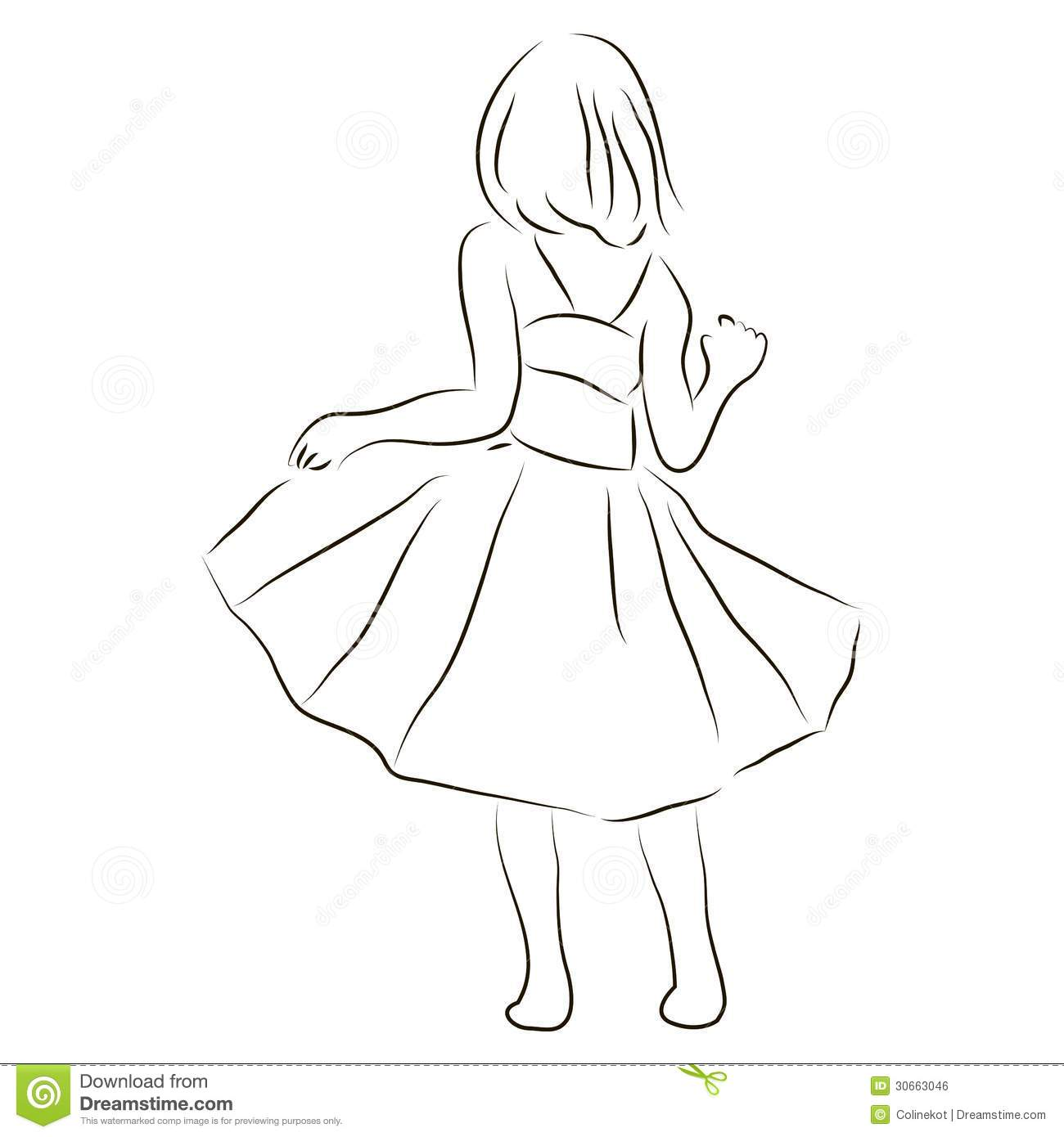 Girl In A Dress Stock Vector Illustration Of Sketchy