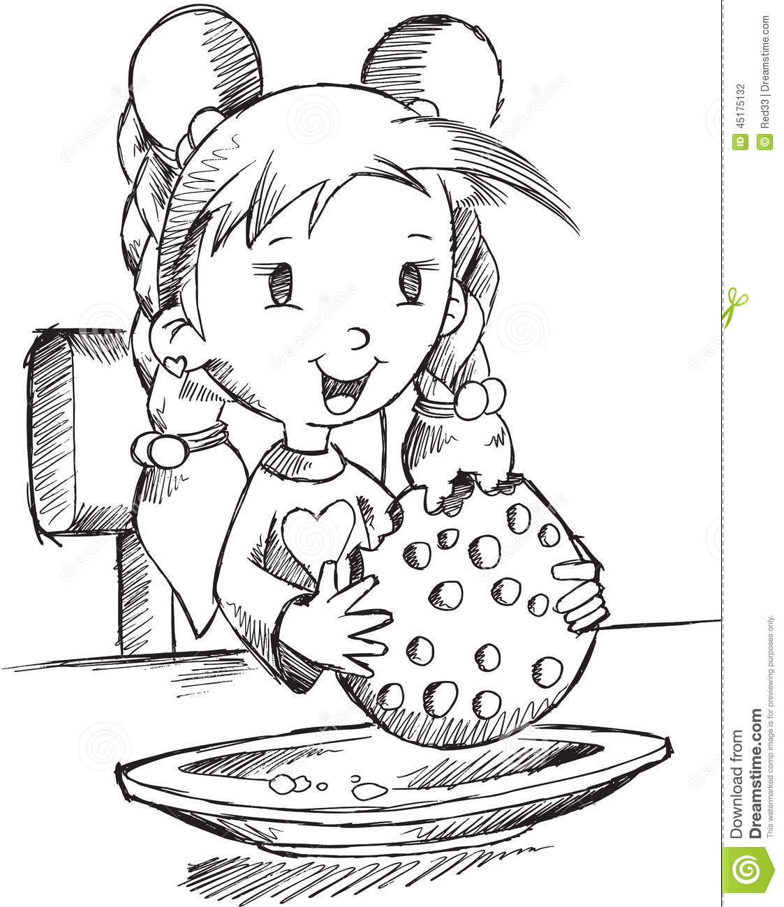 Girl Eating Cookie Sketch Stock Vector Image Of Vector