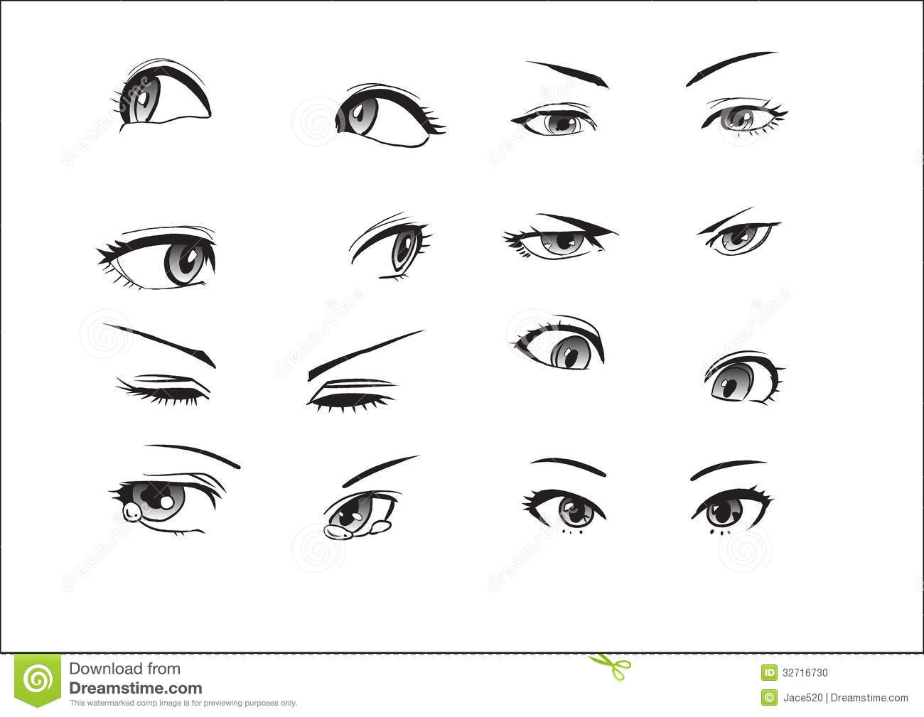 Girl Eyes Emotions Stock Vector Image Of Looking Face