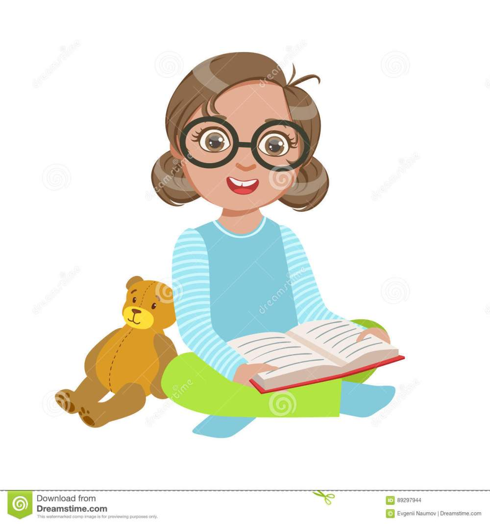 medium resolution of girl in glasses with teddy bear reading a book part of kids loving to read