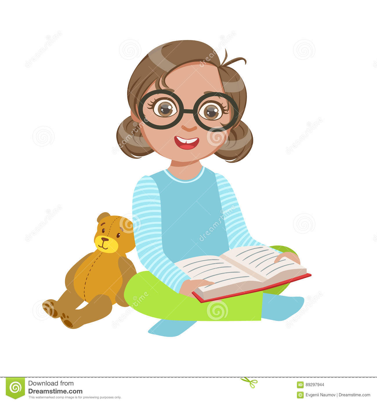 hight resolution of girl in glasses with teddy bear reading a book part of kids loving to read