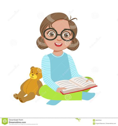 small resolution of girl in glasses with teddy bear reading a book part of kids loving to read