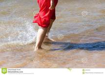 Girl Water Barefoot Stock - 56682380
