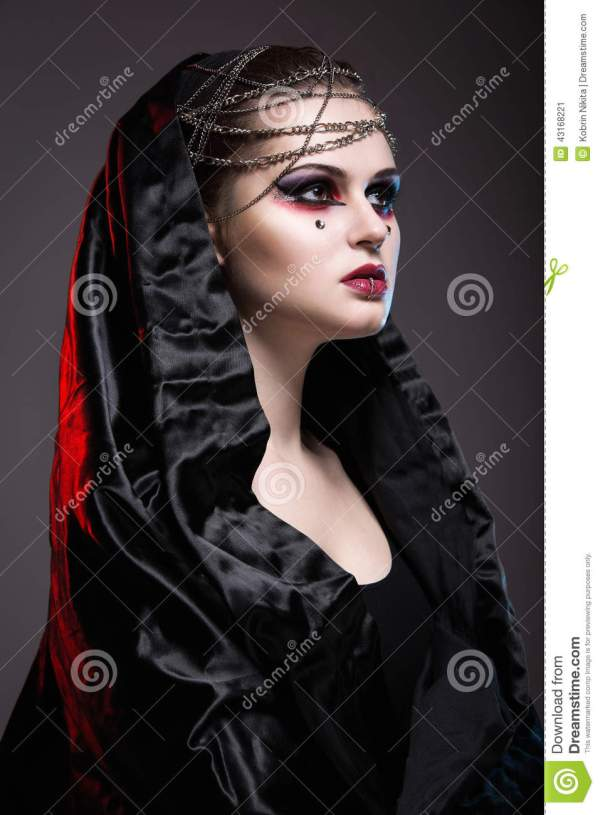 Girl In Gothic Art Style. Stock Of Makeup